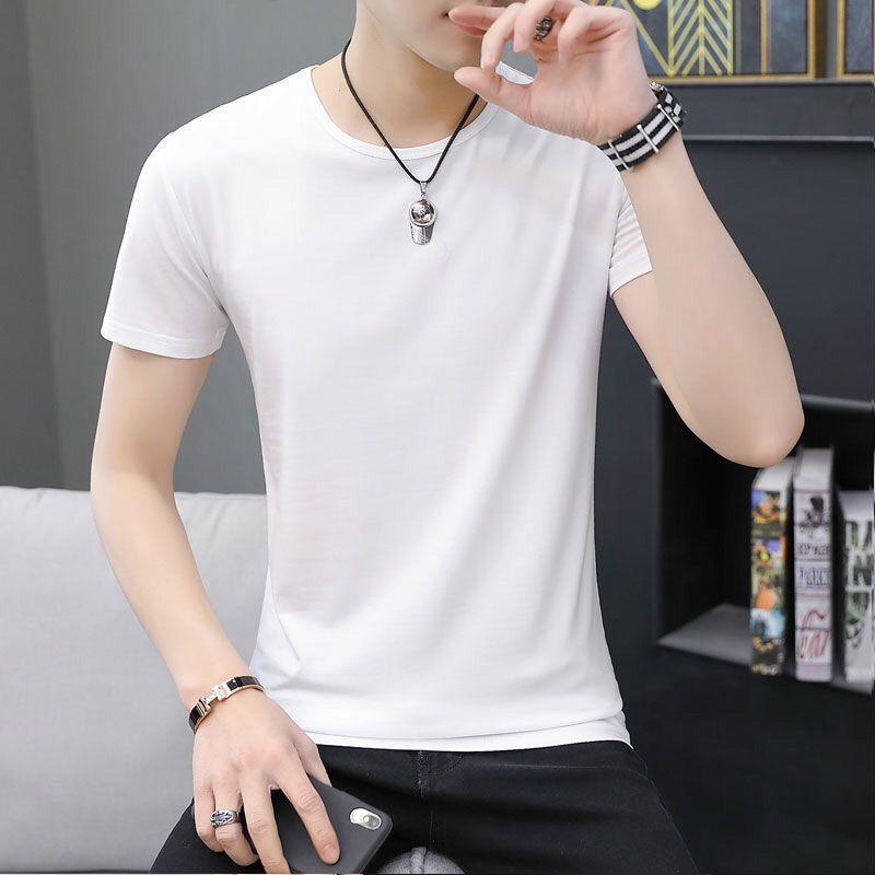 54239-w男女同款不起球高品质有弹力短袖T恤男士打底衫修身半袖-详情图