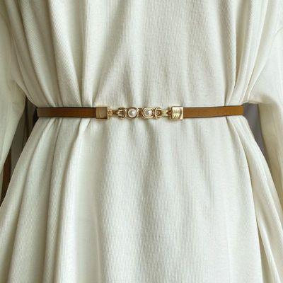 70692/连衣裙腰带女夏季装饰珍珠收腰时尚细皮带真皮黑色配饰潮休闲腰链