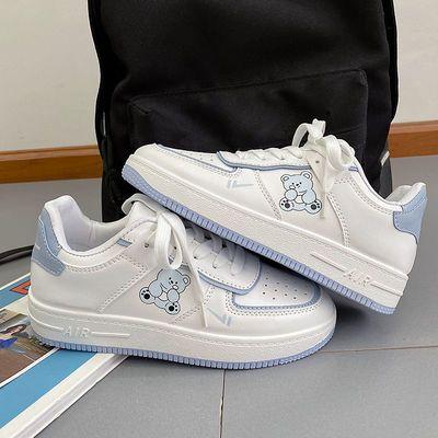 62745/太空宇航员小熊白鞋女2021夏秋新款学生韩版ulzzang百搭厚底板鞋