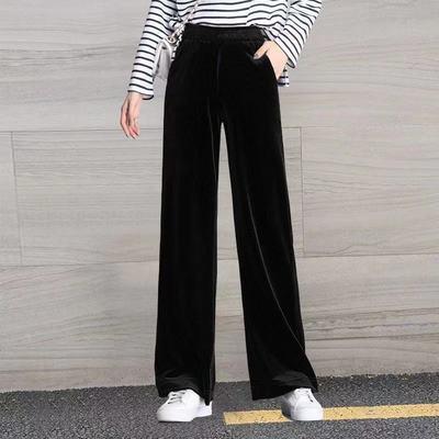 金丝绒阔腿裤春秋女2021年新款高腰垂感直筒显瘦宽松秋季黑色裤子