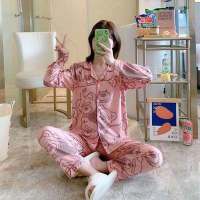 66732/睡衣女韩版新款ins风长袖宽松休闲卡通开衫格子可外穿家居服套装