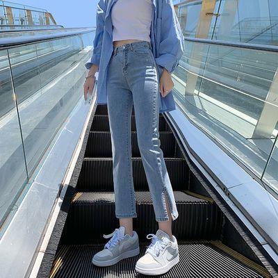 55577/夏季薄款开叉直筒牛仔裤女2021新款高腰显瘦八分小个子阔腿烟管裤