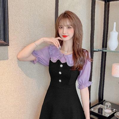 54822/2021夏新款大码女装娃娃领时尚休闲遮肚显瘦韩版职业短裤单两件套