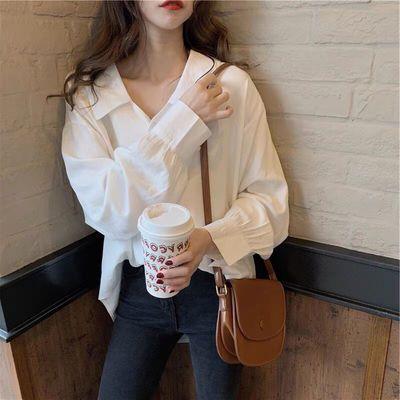 72173/2021秋季新款宽松单排扣长袖纯色简约娃娃领衬衫女上衣