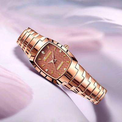正品韩版女士超薄女生表手环学生女表方形钨钢腕表非机械防水手表