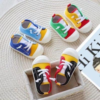 男女宝宝拼色鞋幼儿园室内鞋宝宝软底鞋儿童透气帆布鞋新款单鞋