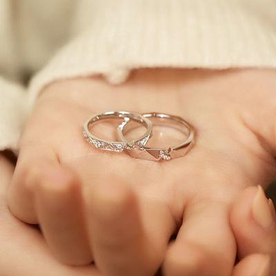 75955/纸短情长2021新款情侣戒指可调节活口不掉色一对情侣款情人节礼物