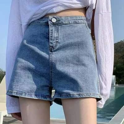 55941/【牛仔短裤女】夏季薄款高腰显瘦热裤新款阔腿短裤浅蓝色百搭ins【8月27日发完】