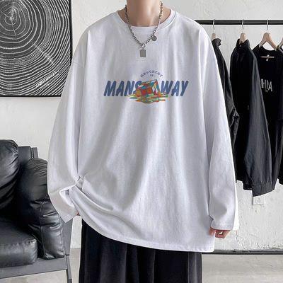 秋季ins超火男学生长袖上衣港风宽松青少年韩版T恤帅气圆领打底衫