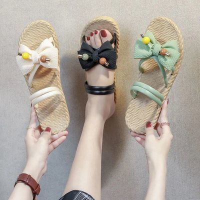 64170/拖鞋女2021夏外穿新款夏季蝴蝶结仙女风网红防滑韩版百搭凉拖鞋
