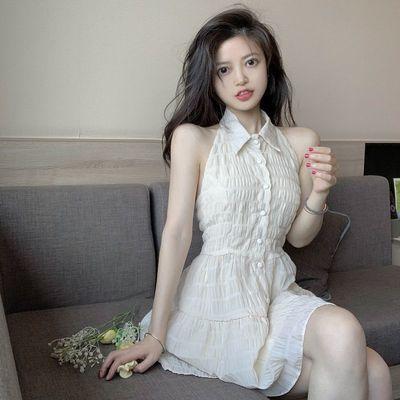 75844/港风法式初恋挂脖连衣裙女夏季2021新款网纱露背甜美收腰辣妹裙子