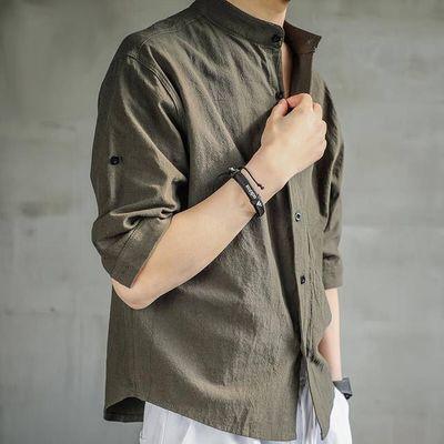 64637/亚麻衬衫男短袖潮流夏季薄款中国风棉麻宽松七分袖高级感衬衣痞帅
