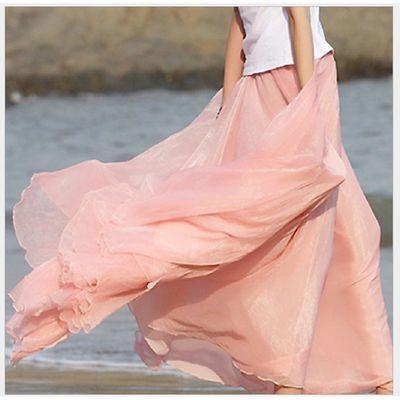 72955/金丝雪纺半身裙女春夏长裙到脚踝中长款大摆裙垂感波西米亚沙滩裙
