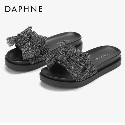 76455/Daphne/达芙妮夏季新款外穿凉拖甜美蝴蝶结一字拖鞋平底飞织凉鞋