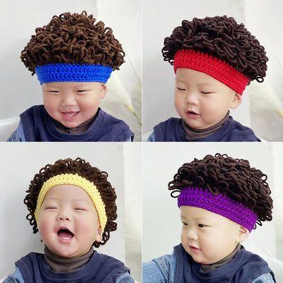 76345/婴儿搞笑帽子宝宝趣味假发帽子网红婴儿童个性头发套男女童卷发帽