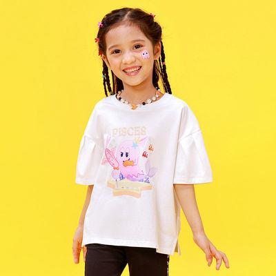 A21x吃豆人联名2021夏季新品女童针织弹力宽松圆领荷叶短袖T恤衫F