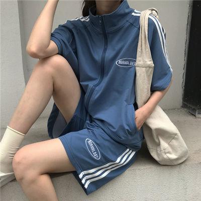 56101/运动休闲套装女夏季2021新款韩版学生洋气拉链开衫短袖短裤两件套