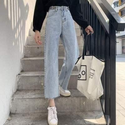 56366/夏季高腰直筒裤女宽松显瘦坠垂感牛仔裤泫雅小个子九分阔腿裤薄款