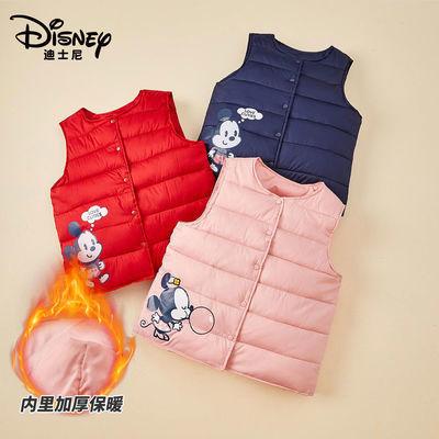 迪士尼马甲棉服2021冬新款聚酯纤维男女童中小童保暖加厚加绒背心