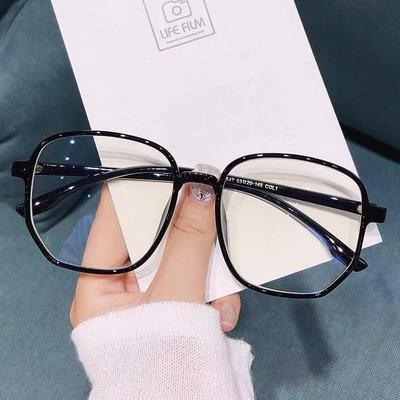 72820/韩版大框圆脸显瘦防蓝光眼镜女黑框眼镜近视有度数素颜网红平光镜