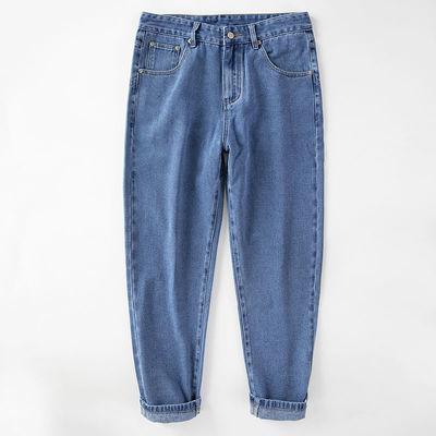 男士牛仔裤男潮流宽松直筒裤老爹裤九分裤日系哈伦萝卜裤