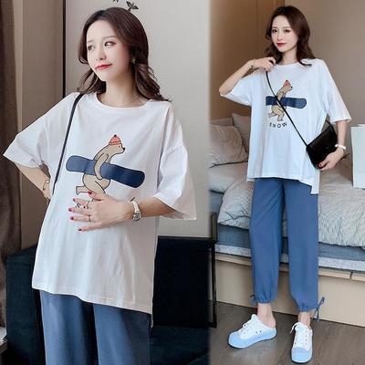 70289/孕妇夏装网红套装2021新款时尚韩版宽松短袖T恤孕妇装中长款上衣