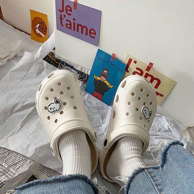 66189/2021款洞洞鞋夏潮女ins可爱少女心包头沙滩凉拖鞋外穿防滑护士鞋