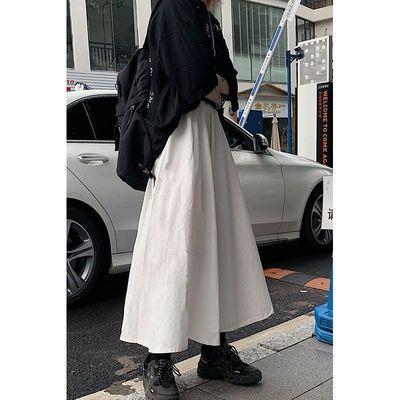 66199/春夏季半身裙2021年新款日系高腰显瘦白色学生a字中长款裙子女潮
