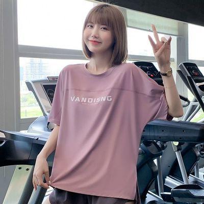 75444/大码运动T恤女宽松跑步速干上衣健身服胖mm200斤半袖瑜伽短袖夏薄