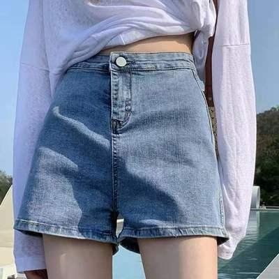 55400/【特价牛仔短裤女】2021新款夏季韩版百搭高腰显瘦热裤卷边热裤【8月26日发完】
