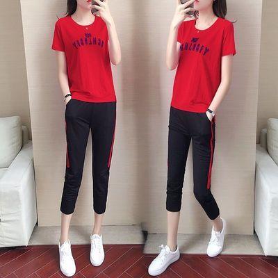 62128/大码休闲运动服套装女2021春夏新款宽松显瘦七分裤时尚短袖两件套