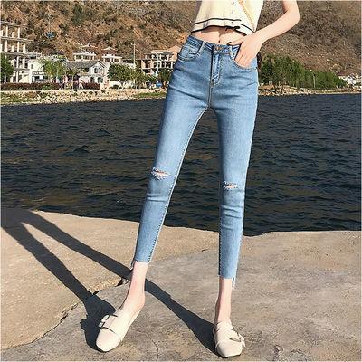 破洞弹力九分牛仔裤女夏季薄款韩版显瘦高腰紧身九分小脚铅笔裤子