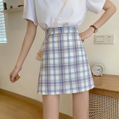 63777/格子短裙新款2021年半身裙显瘦矮个子a字高腰百搭包臀港味ins复古