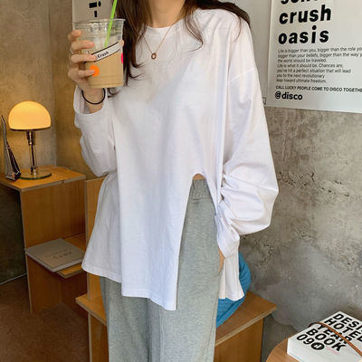 89438/100%纯棉t恤女长袖宽松开叉白色2021打底衫春夏叠穿中长上衣百搭
