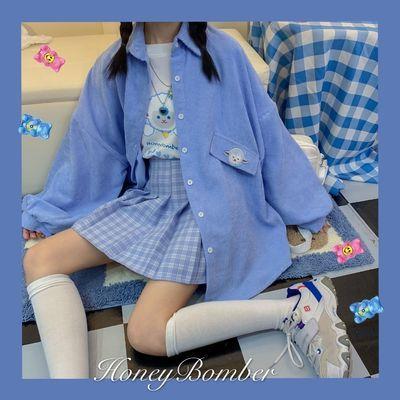 68205/日系衬衫女可爱小羊刺绣2020春秋季灯芯绒学生软妹外套学院风