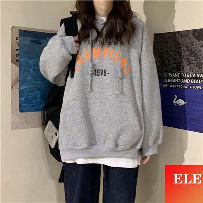 76401/ELE女装外贸连帽卫衣女潮2021秋季新款字母薄款学生百搭宽松上衣