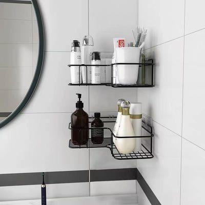 91713/免打孔无痕铁艺浴室置物架洗手间三角架厨房卫生间收纳壁挂架子