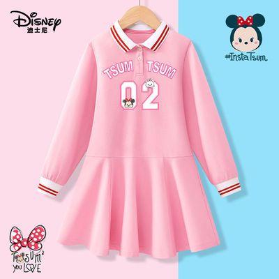 迪士尼童装女童长袖连衣裙儿童裙子2021秋季新款宝宝甜美衣服洋气