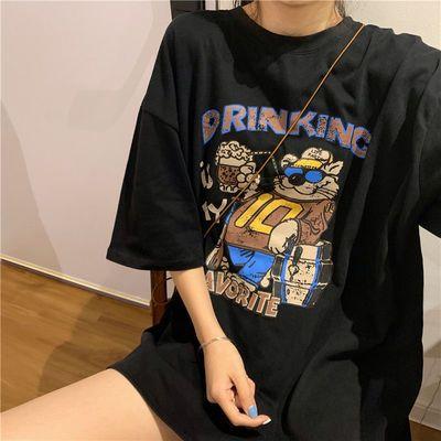 57446/棉质短袖t恤女2021夏季新款韩版宽松学生复古港味原宿风体恤上衣