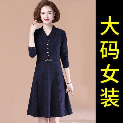 73588/2021秋季新款连衣裙女高贵中老年人女装加大码妈妈装显瘦遮肚裙子