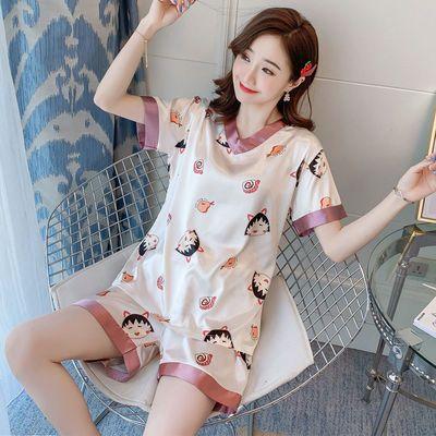 67009/睡衣女春夏季网红爆款丝绸v领短袖甜美可爱可外穿家居服