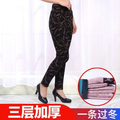 91588/女士牛奶丝打底冬季棉裤中年外穿三层加厚高腰修身大码加绒保暖裤
