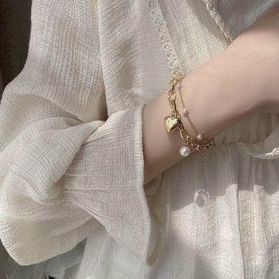 2021新款网红超仙甜美少女可爱心形双层珍珠手链项链女温柔仙气