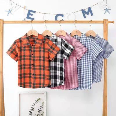 【2件装】儿童衬衫2021新品洋气格子衫中小童吸汗透气开衫