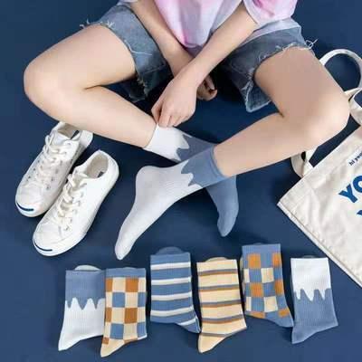 日系夏秋女中筒袜 ins潮条纹拼色方格子船袜薄款男女透气浅口短袜