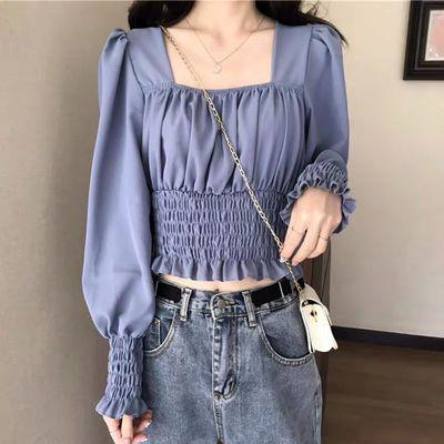 73396/2021秋季新款法式长袖雪纺衬衫女秋季设计感小众收腰显瘦短款上衣