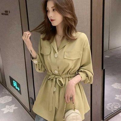 75987/2021春秋装新款韩版系带灯笼袖衬衫女神小个子百搭上衣宽松衬衣