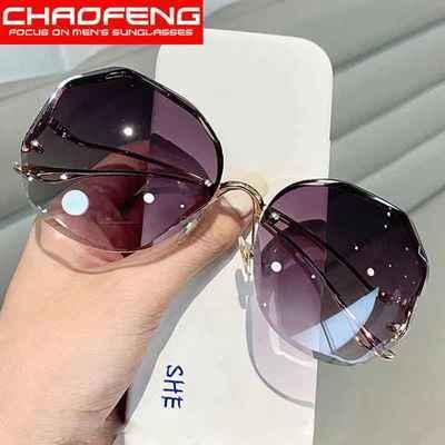 69466/太阳镜女2021年新款韩版潮浅色透明墨镜女防紫外线网红款无框眼镜