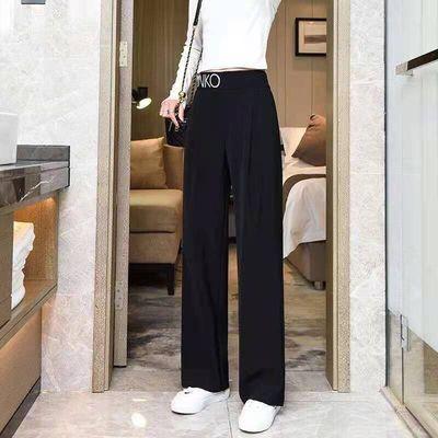 黑色西装裤女夏季薄款高腰垂感宽松直筒小个子显瘦拖地西裤阔腿裤