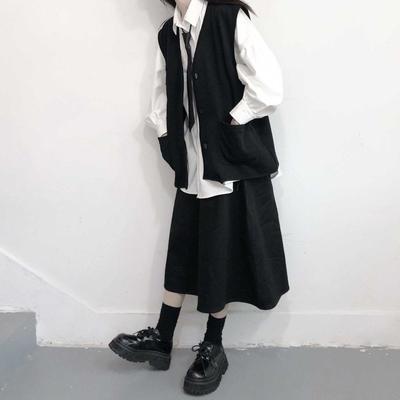 62948/21款学院风套装韩版宽松长袖衬衣+马甲+松紧腰半身裙学院风三件套